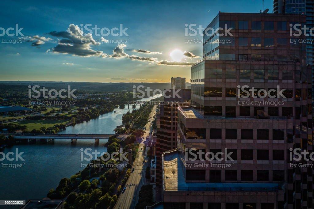 Sunset Over Office Buildings in Austin, Texas zbiór zdjęć royalty-free
