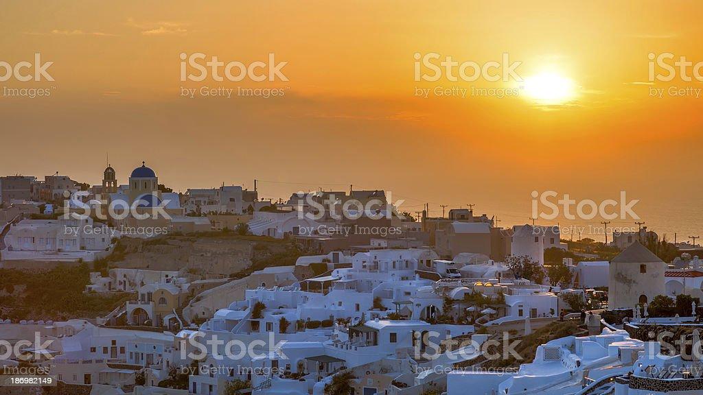 Sunset Over Oia Santorini royalty-free stock photo