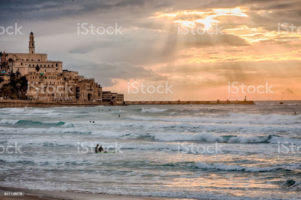 Sunset over Old Jaffa & Mediterranean - Tel Aviv, Israel stock photo