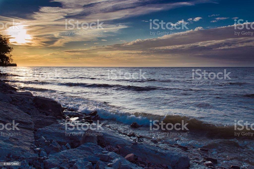 Sunset over Ontario Lake stock photo