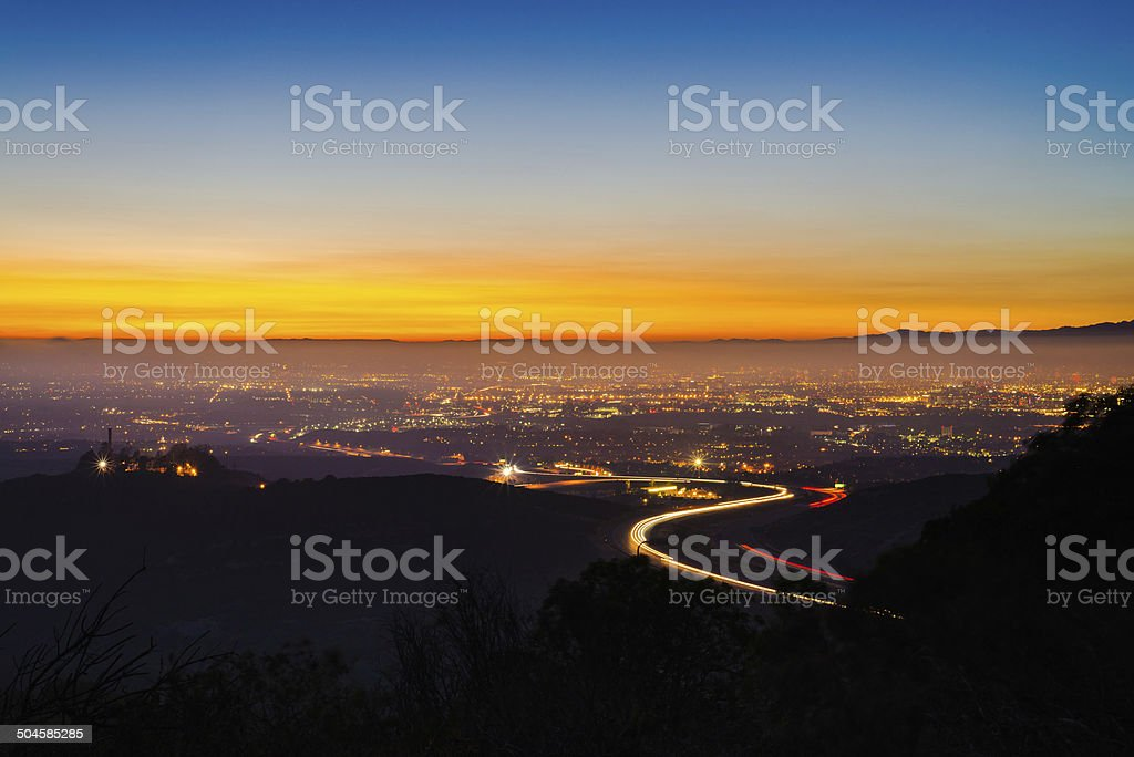 Sunset Over Orange County, California stock photo