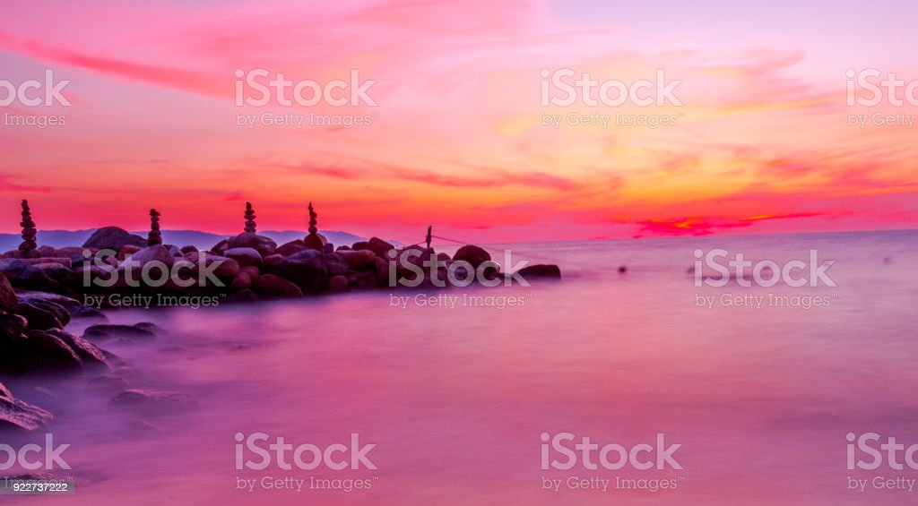 Sunset over Pacific Beach stock photo