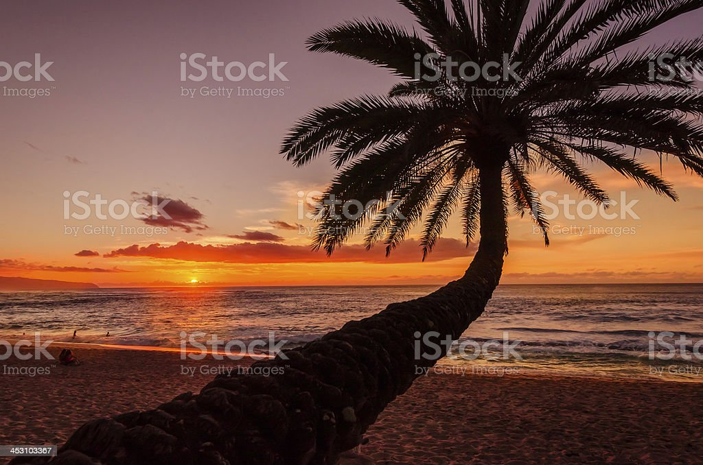 Sunset over Pacific stock photo