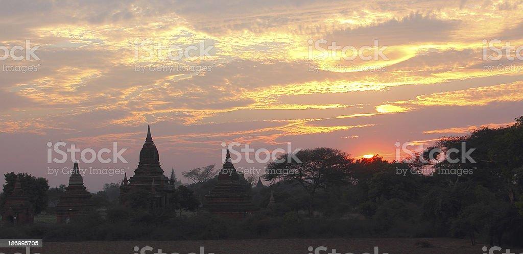 sunset over pagodas royalty-free stock photo