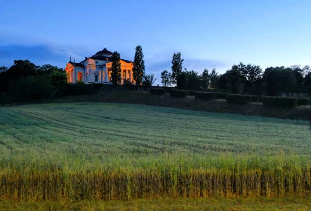 Sunset over Palladio's La Rotonda in Vicenza, Italy stock photo