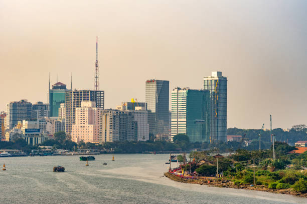 Sunset over part of Song Sai Gon River boardwalk, Ho Chi Minh City, Vietnam. stock photo
