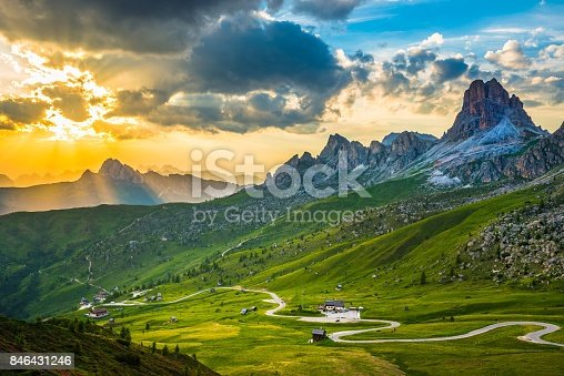 Sunset over Pass Giau. Dolomites alps. Italy