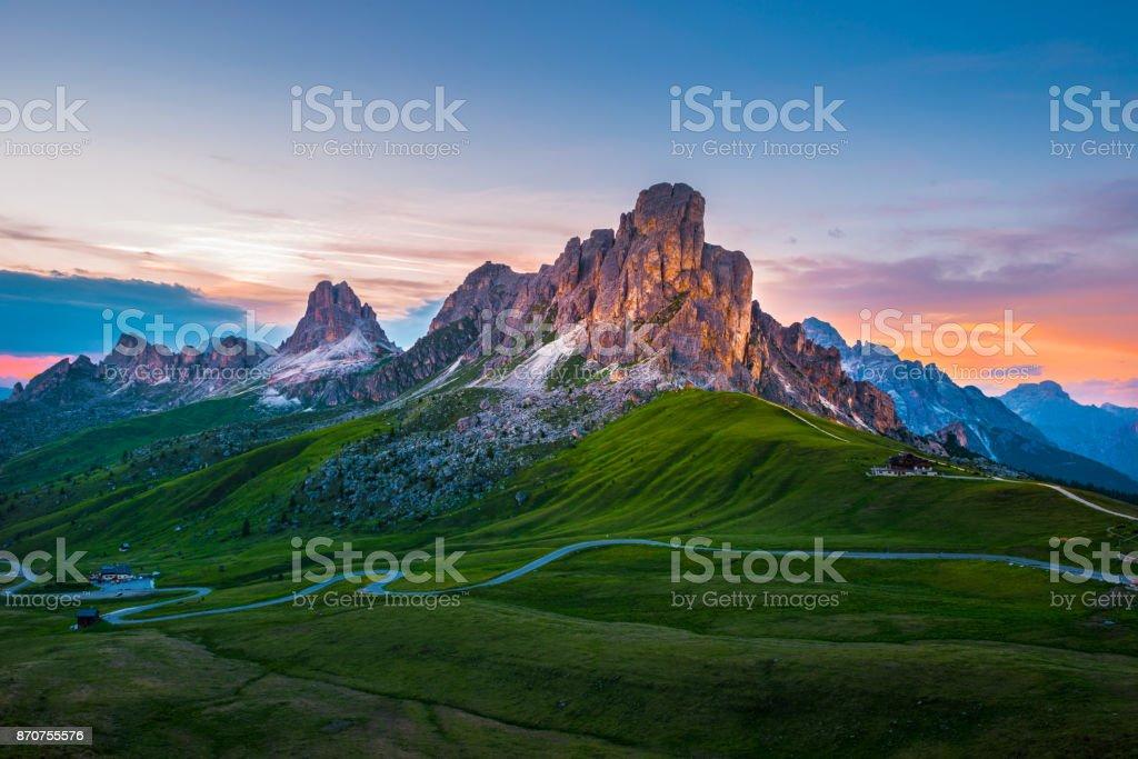 Sonnenuntergang über Giau Pass. Dolomiten Alpen. Italien – Foto