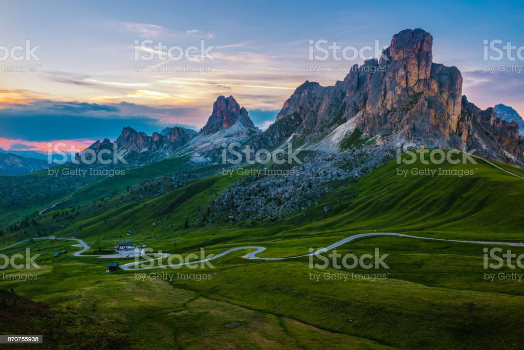 Sunset over Pass Giau. Dolomites alps. Italy stock photo
