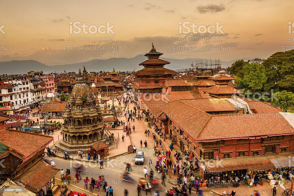Sunset over Patan Durbar Square in Kathmandu, Nepal stock photo
