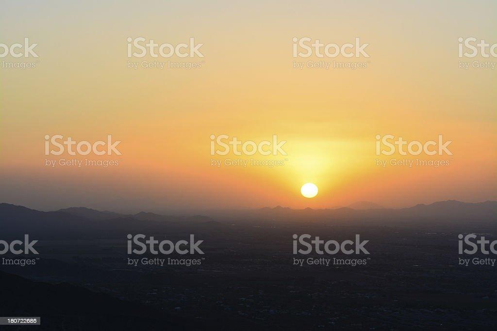 Sunset over Phoenix, Arizona royalty-free stock photo