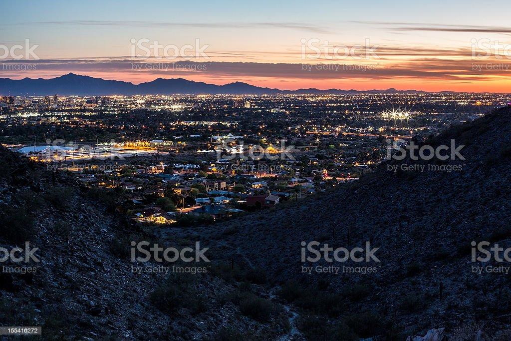 Sunset over Phoenix royalty-free stock photo