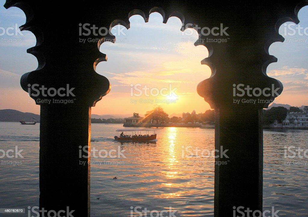 Sunset over Pichola Lake stock photo