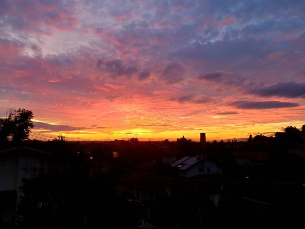 sunset over Pietrasanta - foto stock