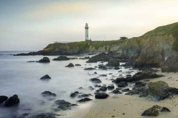 Sunset over Pigeon Point Light House and Hostel Viewed from the South. stock photo