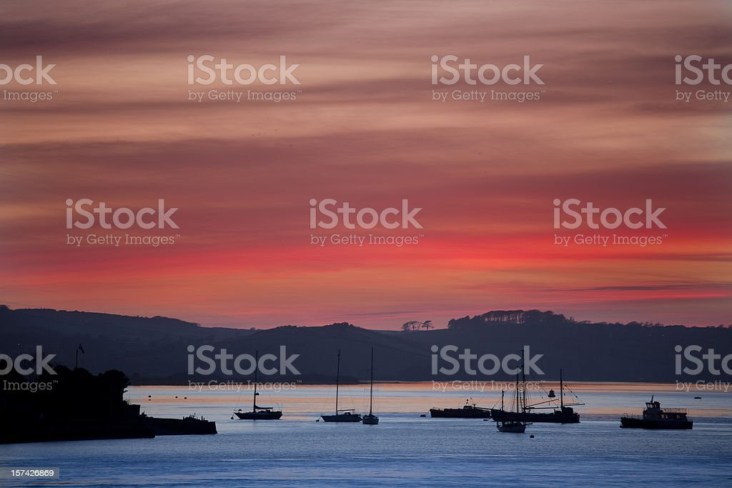 Sunset over plymouth sound royalty-free stock photo