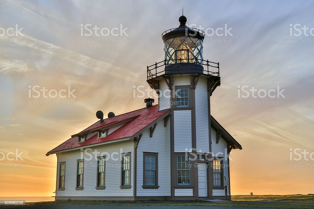 Sunset over Point Cabrillo Lighthouse, Mendocino County, California stock photo