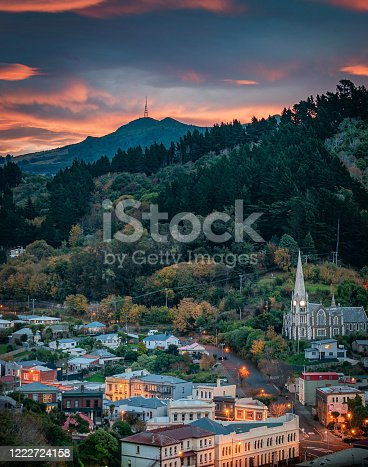 Sunset over Port Chalmers and Mount Cargill