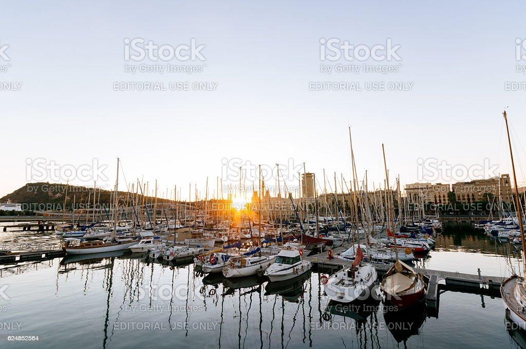 Sunset over Port Vell in Barcelona - Spain. stock photo