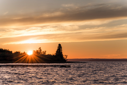 Sunset over pristine lake, Meadow Lake Provincial Park, Saskatchewan, at Lac des Isles.