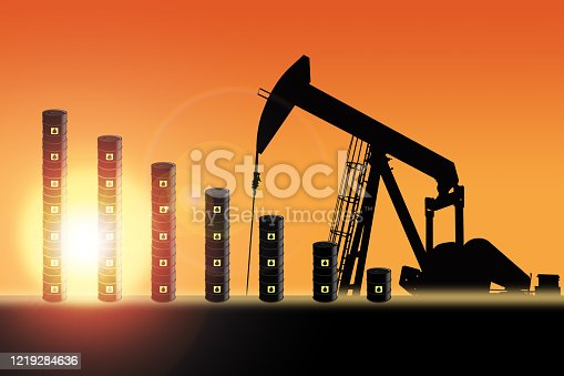 Rows of oil barrel drums decreasing in bar chart format with pump jack silhouette against a sunset sky with deliberate lens flare and copy space. Concept of decreasing oil production output or falling oil prices.