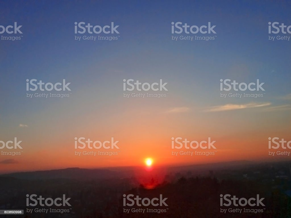 Sunset over Pyatigorsk. Panorama. North Caucasus nature stock photo