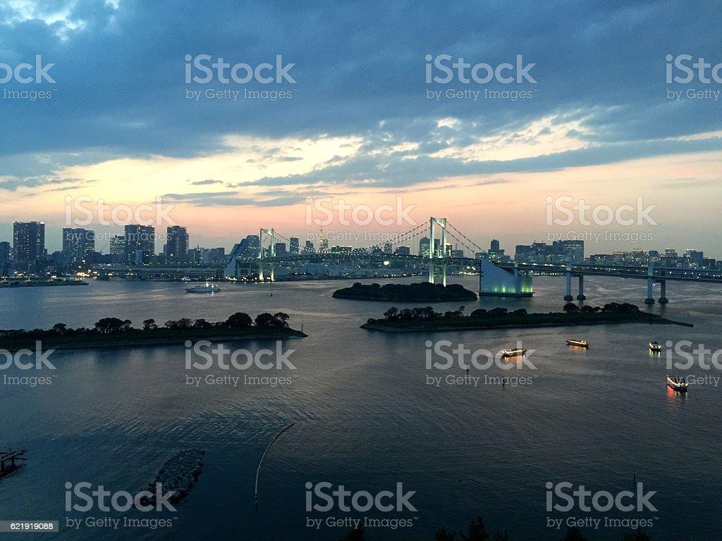 Sunset over Rainbow Bridge stock photo