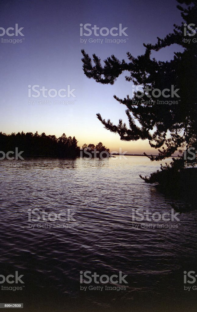 Sunset over Rainy Lake royalty-free stock photo