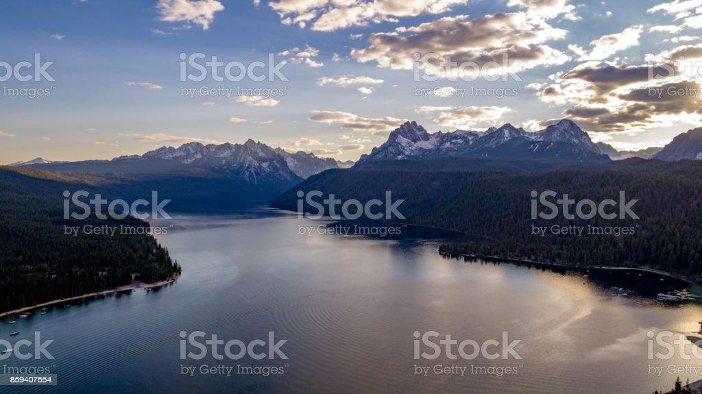 Sunset over Redfish Lake in Idaho aerial view stock photo