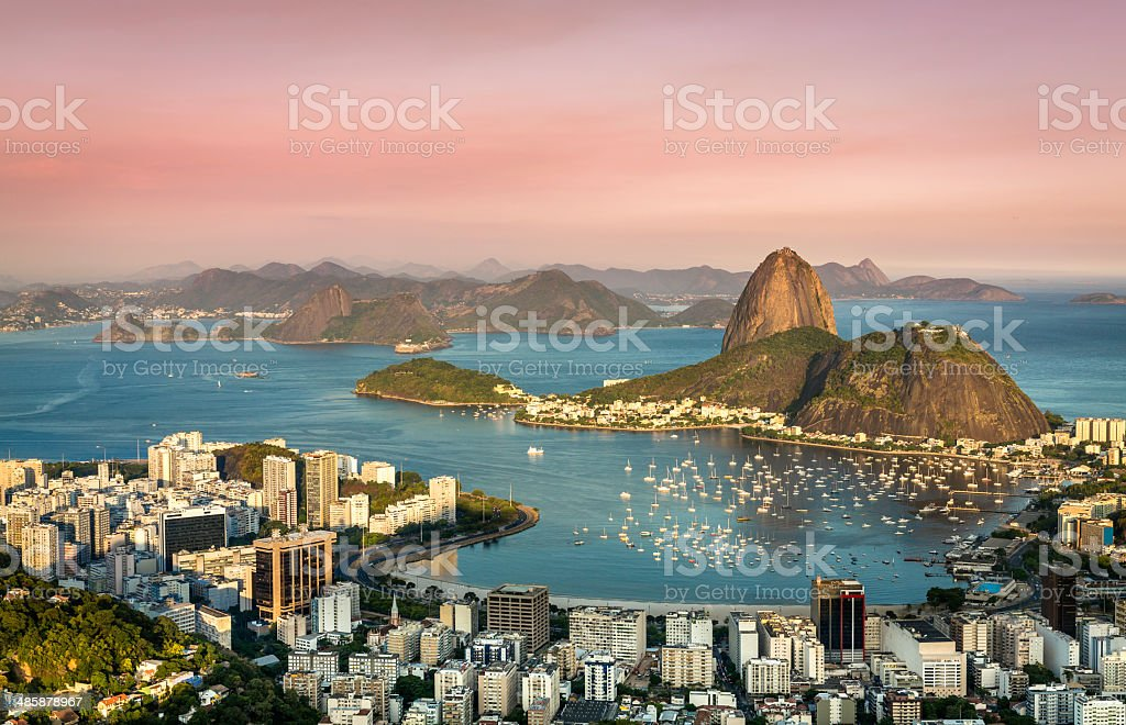 Sunset over Rio de Janeiro Botafogo Bay stock photo