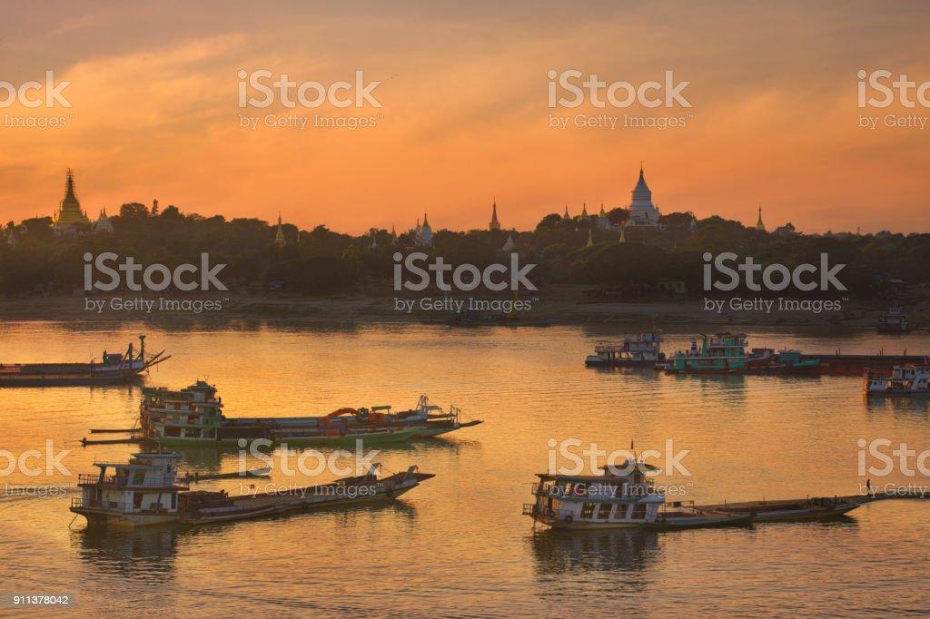 Sunset over river in Mandalay,Myanmar, stock photo
