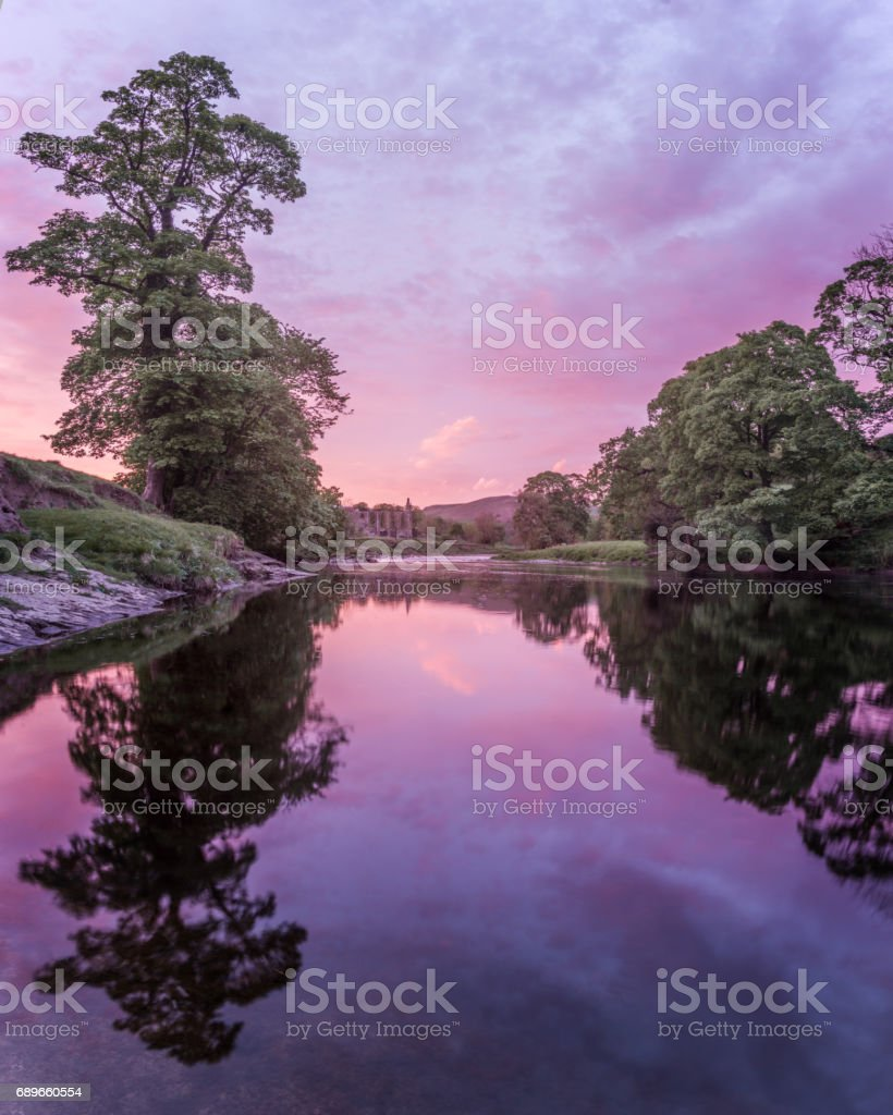 Sunset over River Wharfe stock photo
