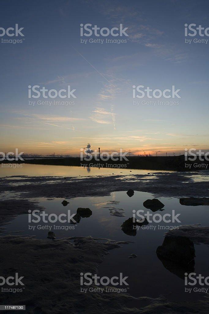 sunset over Rotterdam's Nieuwe Waterweg royalty-free stock photo
