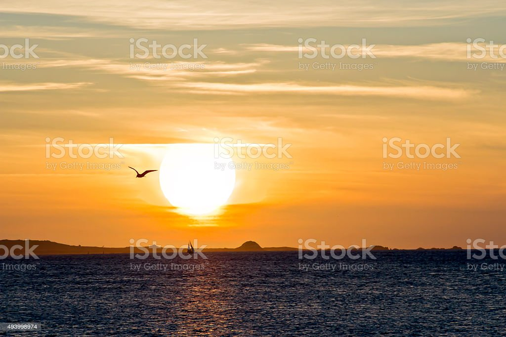 Sunset over Salvora Island stock photo