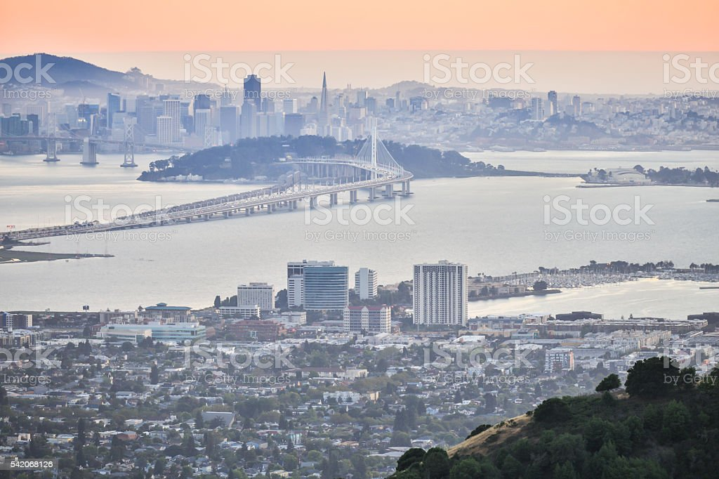 Sunset over San Francisco, as seen from Berkeley Hills stock photo
