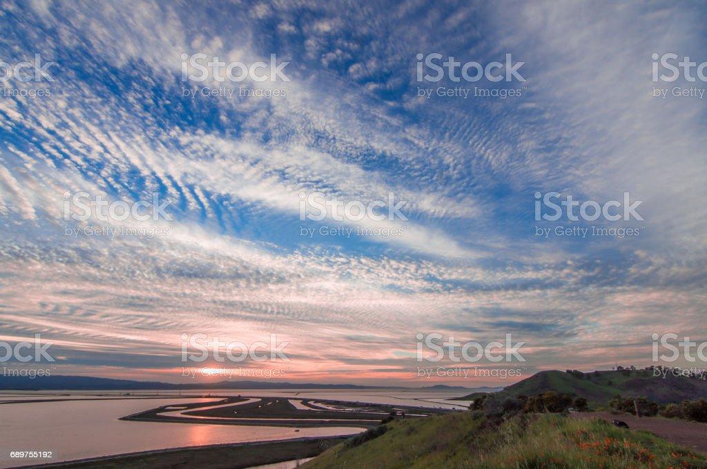 Sunset over San Francisco Bay. stock photo