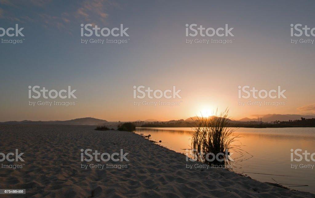 Coucher de soleil sur San Jose Del Cabo estuaire / Lagoon en Basse Californie Mexique BCS photo libre de droits