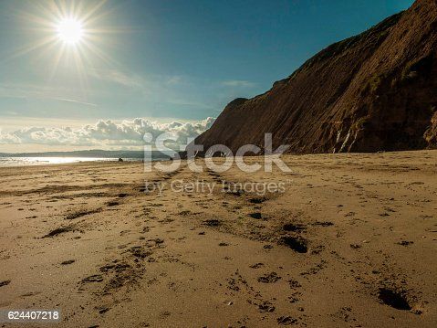 Landscaspe depicting sunset over Sandy Bay and Orcombe Point, Devon Cliffs, Exmouth, South Devon