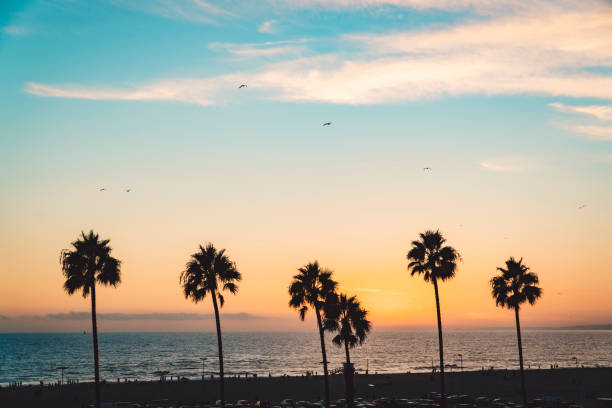 Sunset over Santa Monica beach stock photo