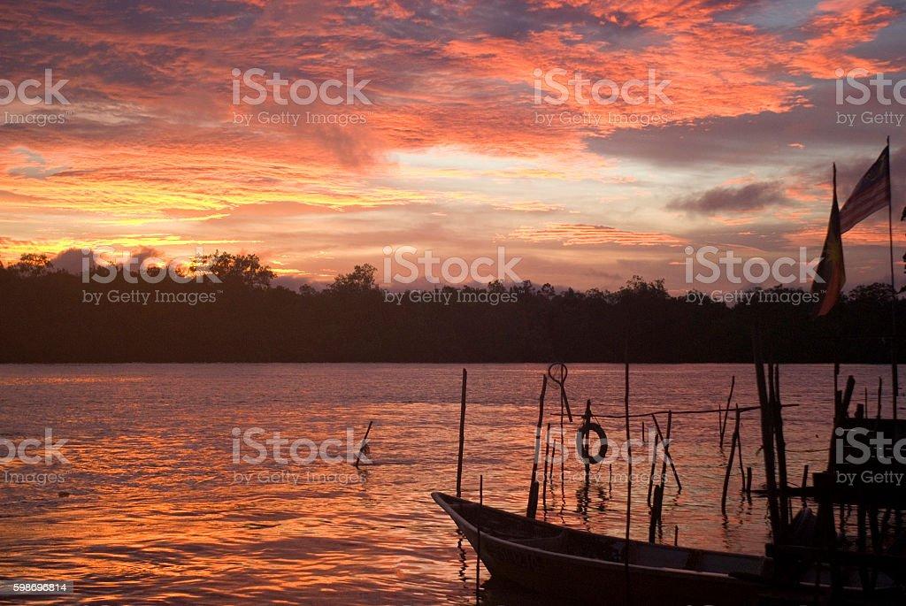 Sunset over Santubong River, Borneo, Malaysia stock photo