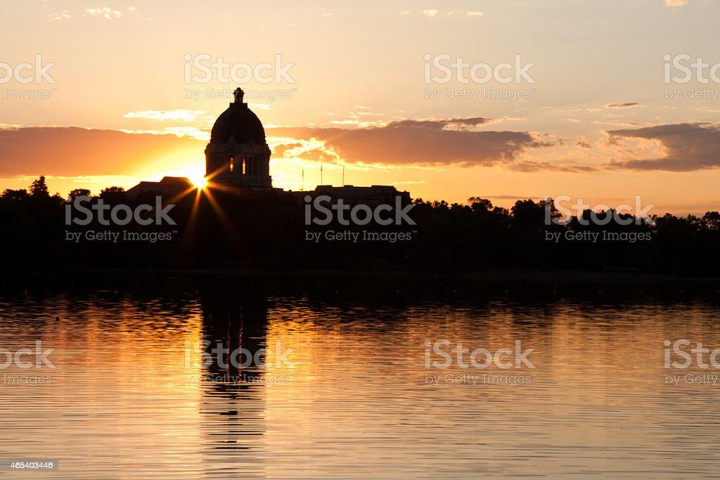 Sunset over Saskatchewan Legislative Building stock photo