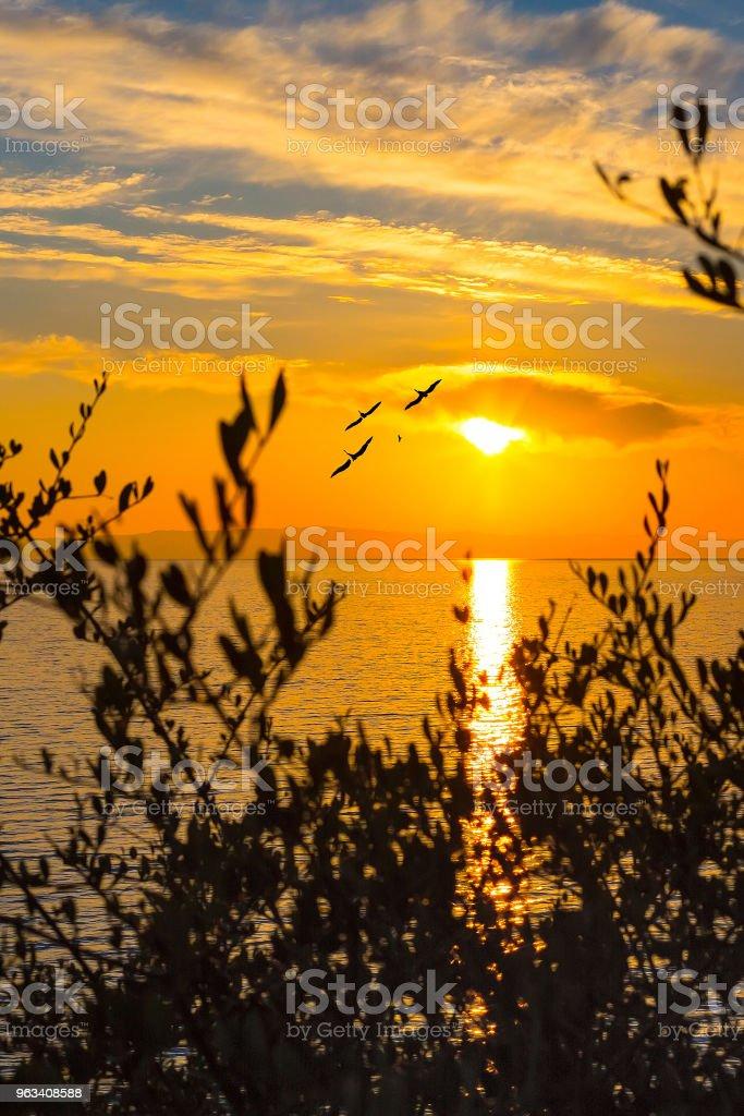 Sunset over sea in Greece island - Zbiór zdjęć royalty-free (Brzask)