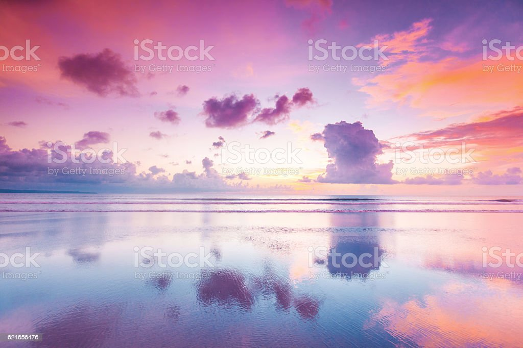 Sunset over sea on Bali stock photo