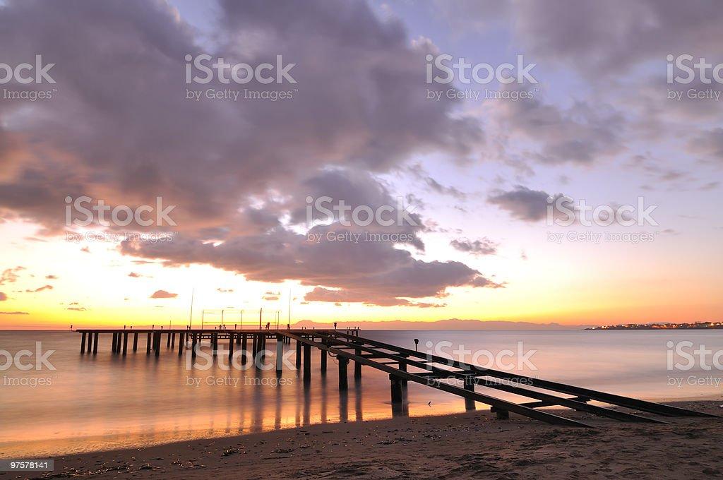 Coucher de soleil sur la mer photo libre de droits