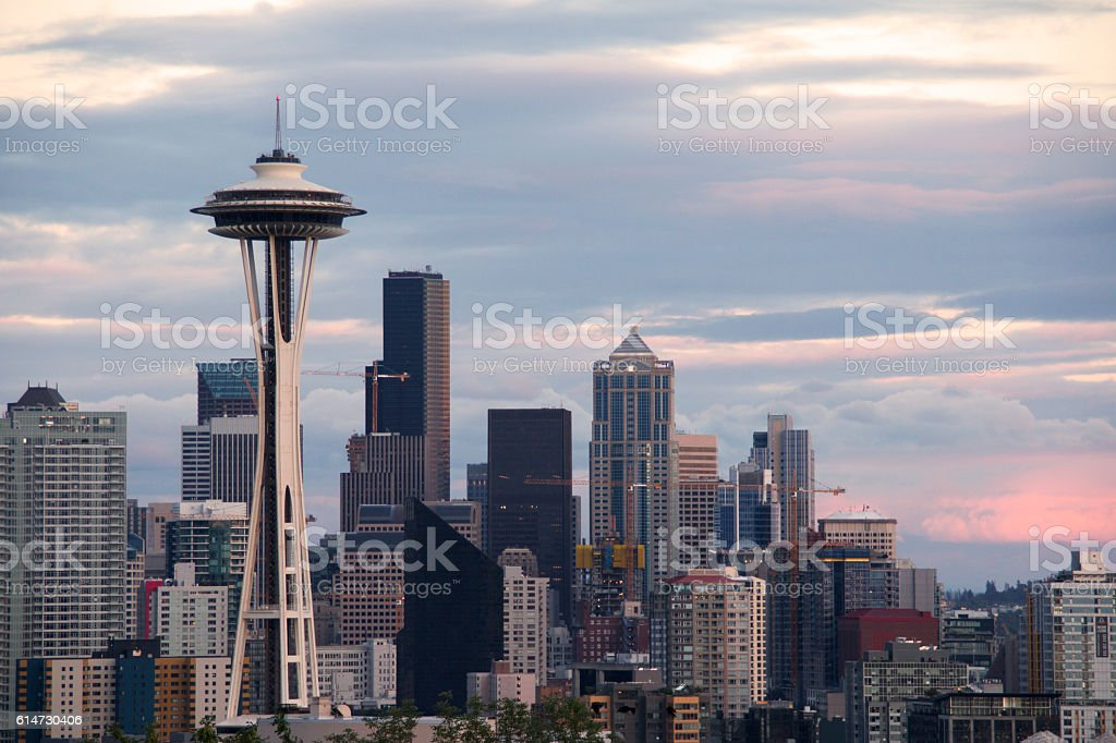 Sunset over Seattle skyline from Kerry Park stock photo
