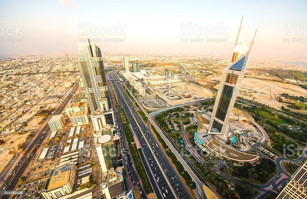 Sunset over Sheikh Zayed Road, Dubai stock photo