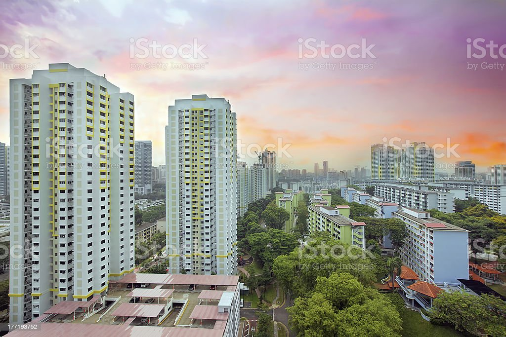 Sunset Over Singapore Housing Estate royalty-free stock photo