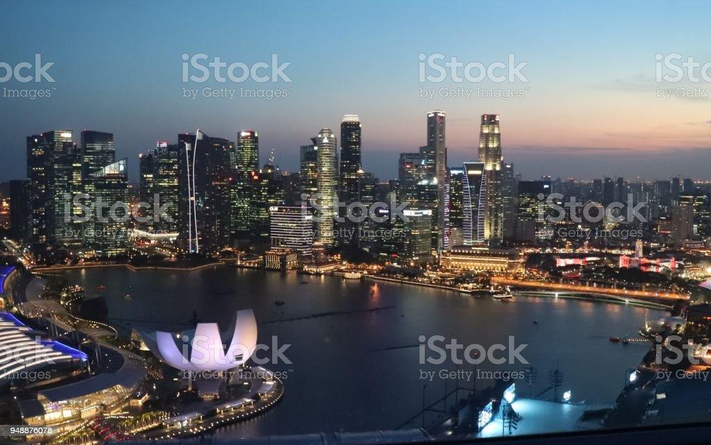 Sunset over Singapore stock photo
