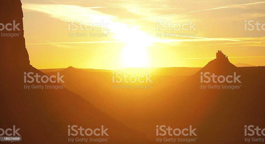 Sunset over six shooter peak in Utah stock photo