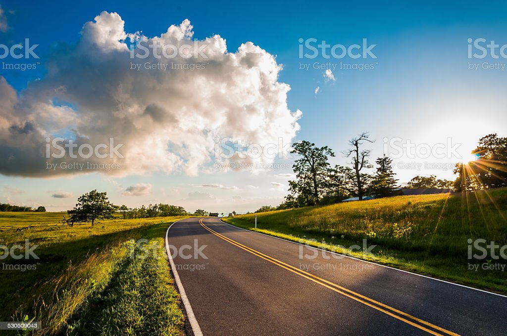 Sunset over Skyline Drive in Big Meadows, Shenandoah National Pa stock photo